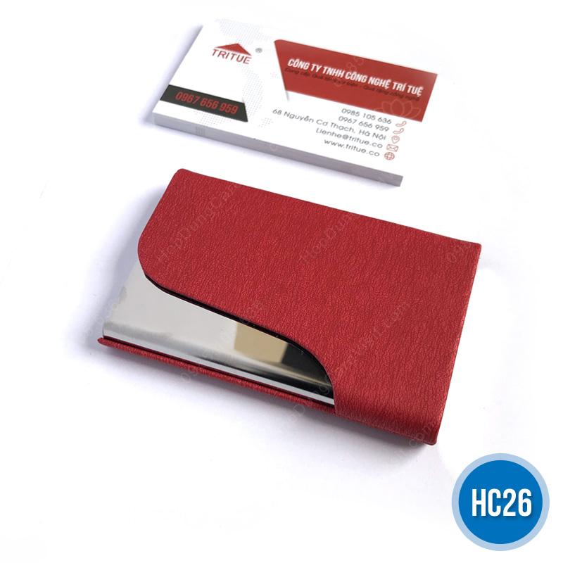 Hộp namecard da HC26 đỏ