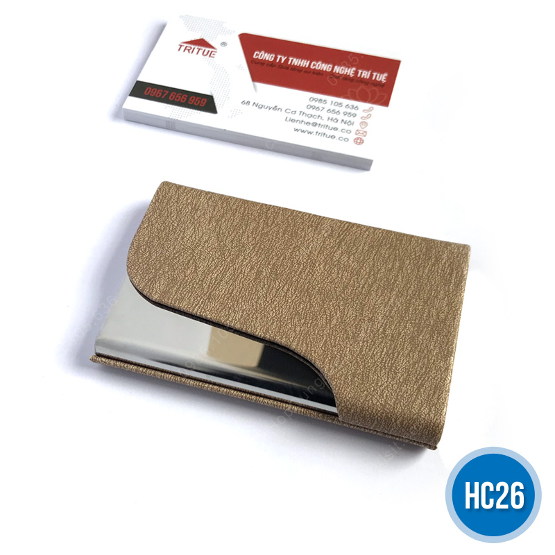 Hộp namecard da HC26 vàng vân gỗ